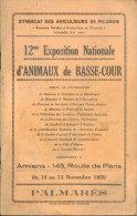 12e Exposition Nationale D´Animaux De Basse-Cour/Syndicat Des Aviculteurs De Picardie/Palmarès/Amiens/1950 - Tiere