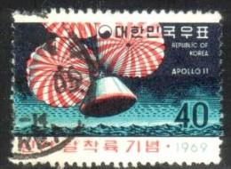 First Astronaut On Moon, Spacecraft Splashdown, Korea Stamp SC#663 Used - Corée (...-1945)