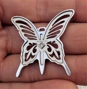 Rebecca - Fine Butterfly Steel Pendant With Diamond - Pendenti