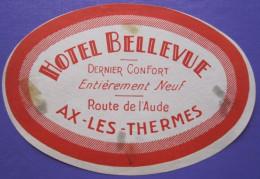 HOTEL AUBERGE BELLEVUE AUDE AX LES THERMES FRANCE STICKER LUGGAGE LABEL ETIQUETA ETICHETTA ETIQUETTE AUFKLEBER PARIS - Etiketten Van Hotels