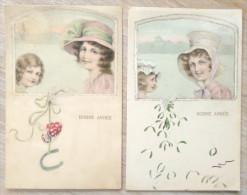 Lot 2x Litho Illustrateur H.H.I.W. 440 Vienne Femme Fille Fillette Chapeau Medaillon DECOR ART Gui Champignon Paillettes - Vienne
