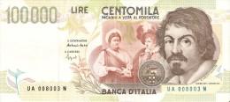 BILLETE DE ITALIA DE 100000 LIRAS DEL AÑO 1994 SERIE UA DE CARAVAGGIO (BANKNOTE-BANK NOTE) - 100.000 Lire