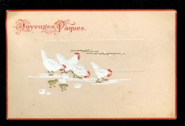 Pâques  Pasen    Carte Gaufrée   Reliëf  -  Poules Hennen  Poule  Hen  -  Pas D' éditeur Au Verso - Easter