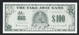 "Spielgeld, Play Money, Nepgeld, Scolaire 145 X 60 Mm, 100 Dollar ""SEATS"", Promotional Note, RRR, UNC - Ohne Zuordnung"