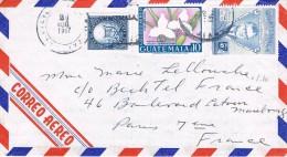 Guatemala 1967 Postal Cover Guatemala - Paris ( France) - Mario Mendez - Lycaste Skinner Alba - Guatemala