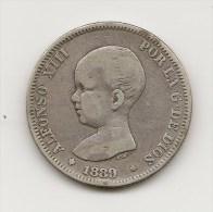 ALFONSO XIII  2 PESETAS  PLATA  1889    NL314 - [ 1] …-1931 : Royaume