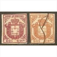 COLONIAS ESPAÑOLAS. DRO JUDICIAL DOS REALES FUERTES ROJO DE 1856 (2 Unidades) - Fiscales