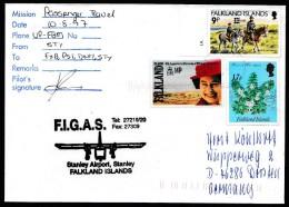 ANTARCTIC, FALKLAND, Port Stanley,10.8.1997, FIGAS-Passenger-Flight, Sign Pilot + Cachet !! Look Scan 11.2-29 - Polar Flights