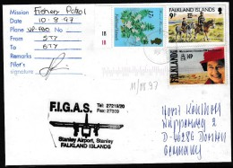 ANTARCTIC, FALKLAND, Port Stanley,10.8.1997, FIGAS-Passenger-Flight, Sign Pilot + Cachet !! Look Scan 11.2-30 - Spedizioni Antartiche