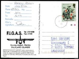 ANTARCTIC, FALKLAND, Port Stanley,17.9.1996, FIGAS-Patrol-Flight, Sign Pilot + Cachet !! Look Scan 11.2-27 - Antarctische Expedities