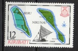 Kiribati 1983 - Cartina Delle Isole Beru E Nikonau Map Of The Islands Canoa Canoe MNH ** - Kiribati (1979-...)