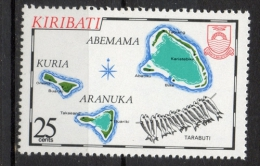 Kiribati 1983 - Cartina Delle Isole Kuria Aranuka Abemama Map Of The Islands Pesci Fish MNH ** - Kiribati (1979-...)