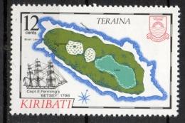 Kiribati 1984 - Cartina Dell' Isola Teraina Map Of The Island Veliero Sailing Ship MNH ** - Kiribati (1979-...)