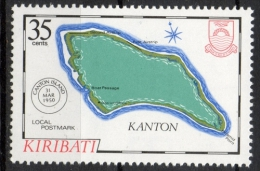 Kiribati 1984 - Cartina Dell' Isola Kanton Map Of The Island Timbro Postale Postmark MNH ** - Kiribati (1979-...)