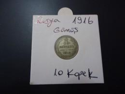 1916 RUSSIA RARE SILVER 10 KOPEK - Russie