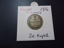1916 RUSSIA RARE SILVER 20 KOPEK - Russie
