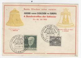 Berlin Michel No. 95 auf Karte / Bundestreffen der Schlesier 1953