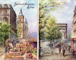 2 Petites Cartes De BONNE  ANNEE -  Dessins De PARIS -  La Conciergerie -   Les Champs Elysées Et  L'Arc De Triomphe - Anno Nuovo