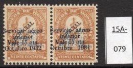 Honduras Rep. 1931 Larger Octubre Surcharge Herrera Bust 15c/20c Pair, Major Varieties MH
