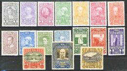 Austria 1910, Serie Completa: N. 119-132 Originali MNH, N. 133-135 Eccezionali Riproduzioni MH Cat. € 950 - 1850-1918 Empire