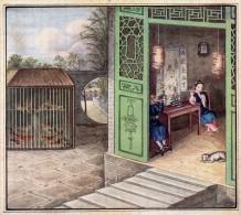 Chromo  / Image -  Grand Format -  Maison  Chinoise,  Volière - Vieux Papiers