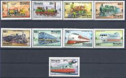1979 MONGOLIE 1027-35** Trains, Aérotrain - Mongolie
