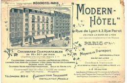 HOTEL ... LE MODERN ... RUE DE LYON RUE PAROT ... PARIS - Bâtiments & Architecture