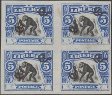 Liberia 1906 Y&T Serv. 47 Bloc De 4, Non Dentelé, Essai Sur Papier Non Gommé. Surcharge Double, Une Couchée. Chimpanzé - Chimpanzés