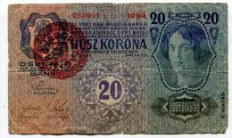 "D Hongrie Hungary Ungarn Autriche Austria Overprint  """" MAGYARORSZAG """" 20 Kronen 1913 # 2 - Hongrie"