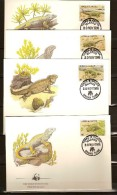 Turks & Caicos  Yvertn° 758-61 (°) Used FDC Cote Des Timbres 13,50 Euro Faune WWF L' Iguane De Terre - Turks & Caicos (I. Turques Et Caïques)