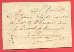 _5i-939: Complete Brief Van TERMONDE [Elverele, 29 Mars 1837] + PP [= Port Payé] + 1 [=1 Decieme Port] Op De Achterkant] - 1830-1849 (Belgique Indépendante)