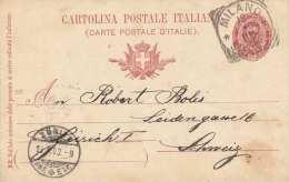 Italien 1900 - 10 C Ganzsache Auf Pk Milano > Zürich - Ganzsachen
