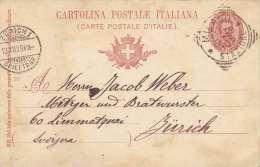 Italien 1899 - 10 C Ganzsache Auf Pk Milano > Zürich - 1900-44 Victor Emmanuel III.