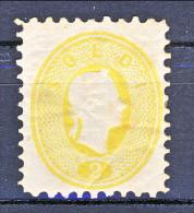 Austria 1870 N. R12a , 2 Soldi Giallo Arancio, Dent. 10,5, Ristampa Ufficiale Del Tipo 1861,  MH - Nuevos