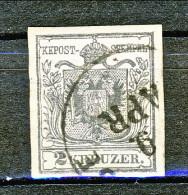 Austria 1850 N. 2a Kr. 2 Grigio Nero, Ottimi Margini, Annullo Leggero, Senza Difetti Occulti - 1850-1918 Impero