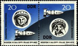 DDR WZd90 (kompl.Ausgabe) (970-971 Als Paar) Postfrisch 1963 Weltraumflug - Se-Tenant