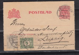 POSTBLAND -   5 Ct + 10 Ct + 5 Ct  , AMSTERDAM - LEIPZIG - Covers & Documents