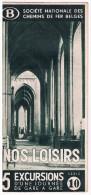 Dépliant SNCB, Mars 1938, Nos Loisirs 5 Excursions D´une Journée De Gare En Gare - Série 10 - Transports