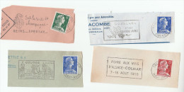 1958- 1959  France LOT Of 4 Different WINE And GRAPES Topic  Illus SLOGAN Postmarks On Piece, Stamps - Wines & Alcohols