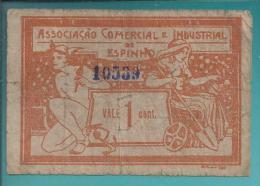 Cédula 1 Centavo Associação Comercial E Industrial Espinho,1920.Cédula Com Ancora E Roda Dentada Verso Praia De Espinho - Coins & Banknotes