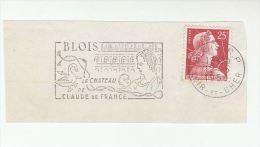 1959 FRANCE Stamps SLOGAN Pmk Illus  SWAN , BLOISE CASTLE , CLAUDE De FRANCE , ARROW  On Piece Bird Archery Bird - Swans