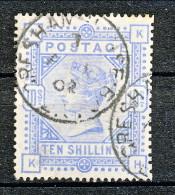 UK 1883-84 Victoria N. 88 - 10 Scellini Azzurro HK Annullo Gresham - Used Stamps