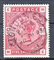 UK 1883-84 Victoria N. 87 - 5 Scellini Carminio EM Usato, Annullo London  Cat £ 250 = € 275 - Used Stamps