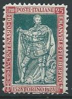 1928 REGNO FILIBERTO VITTORIA 25 CENT D. 11 MNH ** - T8 - 1900-44 Victor Emmanuel III.