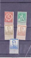 C01-159 - Belgique Timbres   Du 15-4-1912 - COB 109-110-112-113-125 Val +-50€ - Cachet De  - Série  - Roi Albert - 9€ - 1912 Pellens