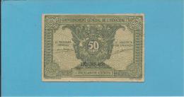 INDOCHINA - 50 CENTS - Sign. 14 ( 1942 ) - P 91.a -  Gouvernement Général De L' Indochine - 2 Scans - Indochina