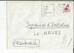 Enveloppe Flamme Timbrée De  Heide  (Post Damit Man Voneinander Hort) En 1973 Adressé A Syndicat Initiative Au Havre 76 - BRD