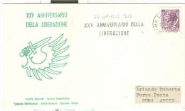 XXV ANNIVERSARIO DELLA LIBERAZIONE, 1970, ANNULLO SPECIALE SU BUSTA  VIAGGIATA  1970, - 6. 1946-.. Repubblica