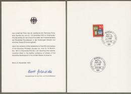 "Bund + USA: Minister Card - Ministerkarte Mi-Nr 825 ESST: "" Germany Philatelic Society "" Gemeinschaftsausgabe !     X - Covers & Documents"