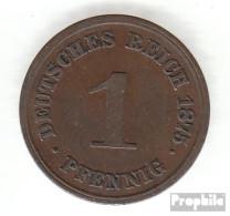 Deutsches Reich Jägernr: 1 1875 A Vorzüglich Bronze Vorzüglich 1875 1 Pfennig Kleiner Reichsadler - 1 Pfennig